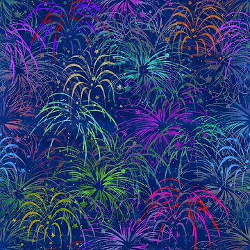 Fireworks 4th of July Colorful Summer Pretty Pattern  by emkayhess