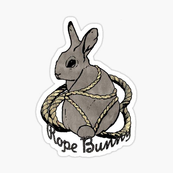 """Rope Bunny"" Shibari Japanese Rope Bondage (Gray) Sticker"