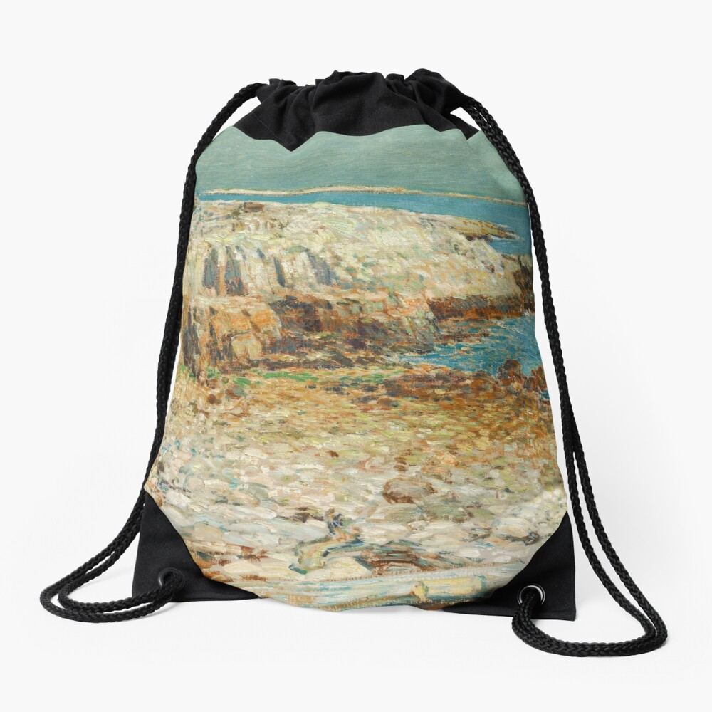 A North East Headland Oil Painting by Childe Hassam Drawstring Bag