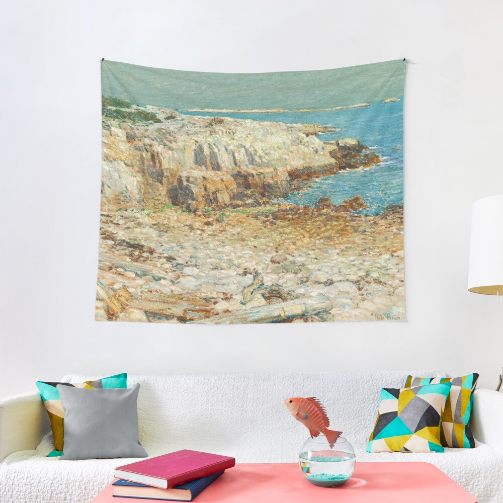 A North East Headland Oil Painting by Childe Hassam Tapestry