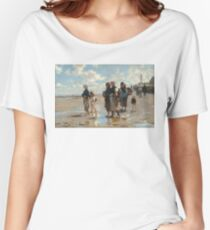 Setting Out to Fish Oil Painting by John Singer Sargent Women's Relaxed Fit T-Shirt