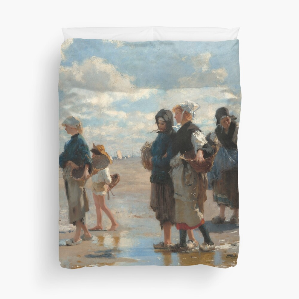 Setting Out to Fish Oil Painting by John Singer Sargent Duvet Cover