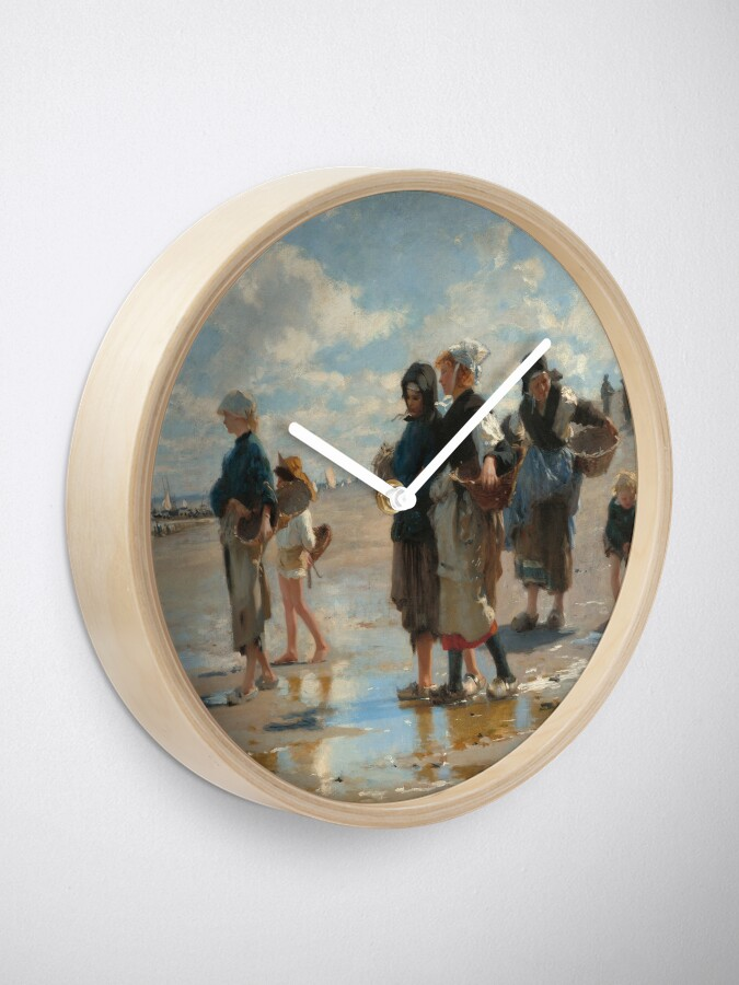 Alternate view of Setting Out to Fish Oil Painting by John Singer Sargent Clock