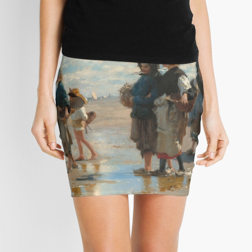 Setting Out to Fish Oil Painting by John Singer Sargent Mini Skirt
