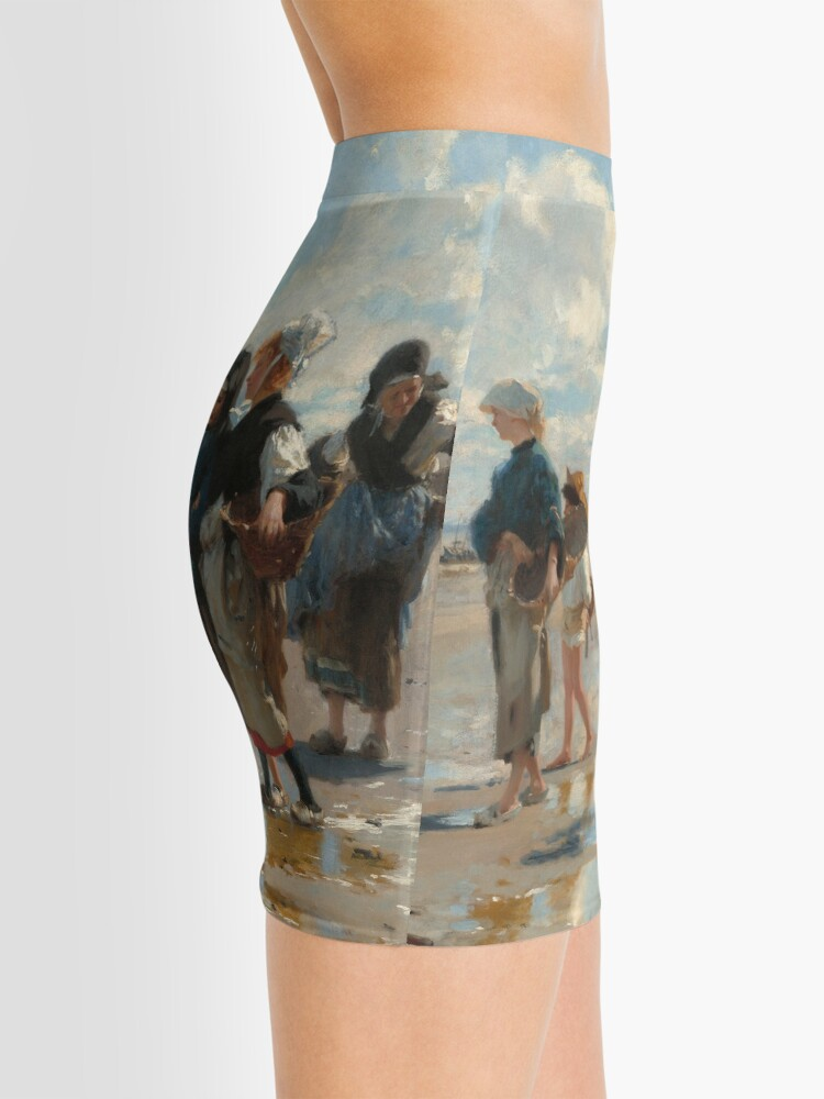 Alternate view of Setting Out to Fish Oil Painting by John Singer Sargent Mini Skirt