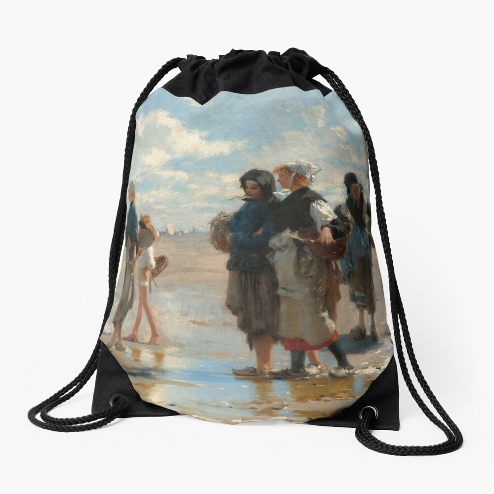 Setting Out to Fish Oil Painting by John Singer Sargent Drawstring Bag