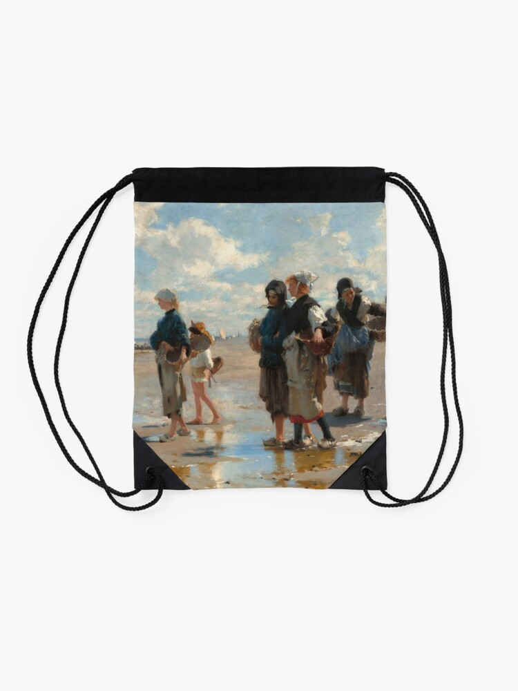 Alternate view of Setting Out to Fish Oil Painting by John Singer Sargent Drawstring Bag