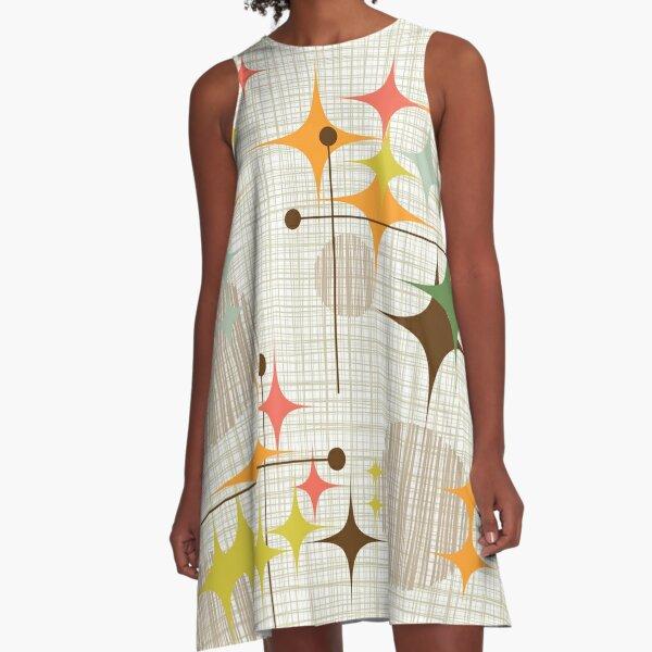 Eames Era Starbursts and Globes 3 (bkgrnd) A-Line Dress