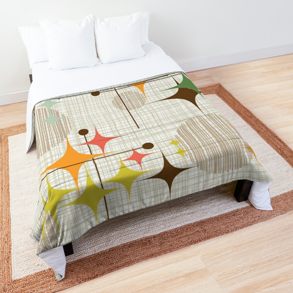 Eames Era Starbursts and Globes 3 (bkgrnd) Comforter