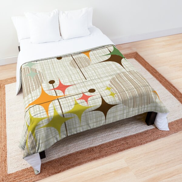 Eames Era Starbursts and Globes 3 (bkgrnd) Comforter