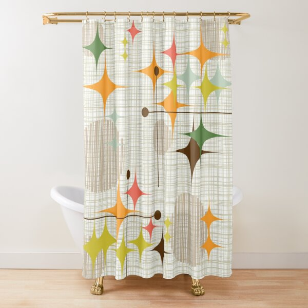 Eames Era Starbursts and Globes 3 (bkgrnd) Shower Curtain