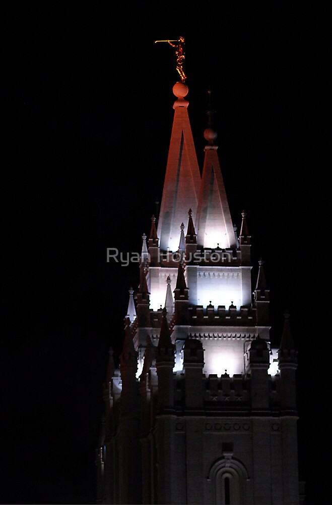 Salt Lake Temple - East Spires at Night by Ryan Houston