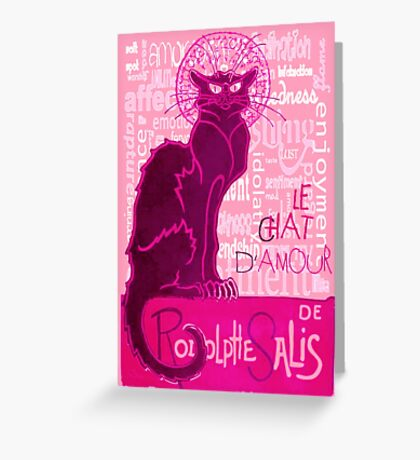 Le Chat D'Amour In Pink With Words of Love Greeting Card