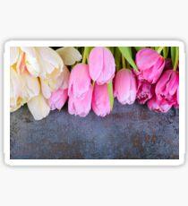 Fresh pink tulips on gray stone background Sticker