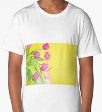 View to the multicolored tulips over yellow paper Long T-Shirt