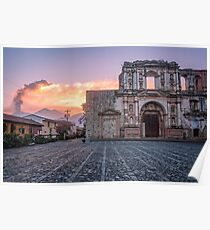 El Fuego Sunset and a beautiful Ruin in Antigua Poster