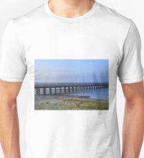 Photo of pier in sunset with anchor Unisex T-Shirt
