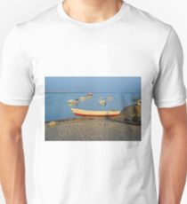 Photo of boats in bay at sunset in Portugal Unisex T-Shirt