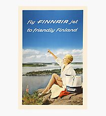 Fly FINNAIR jet to friendly Finland Photographic Print