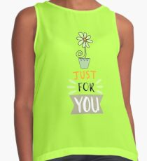 Cute design,flower and lettering Contrast Tank