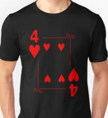 Four Of Hearts Playing Card Shirt Unisex T-Shirt