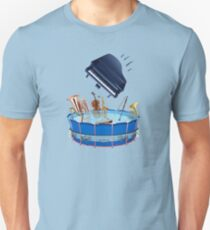 Musical Pool Party with Piano Leaping In Unisex T-Shirt