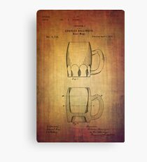 Beer Mug Patent From 1872 Canvas Print