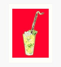 Bass Clarinet Musical Mint and Lime Cocktail Art Print