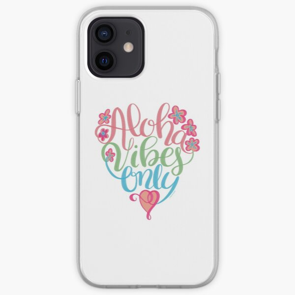 Aloha Vibes Only Hawaii Hand Lettering Design iPhone Soft Case