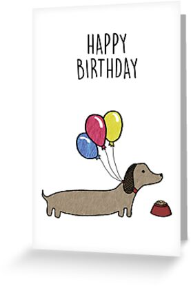 Sausage Dog Happy Birthday Card By Bronte Carr