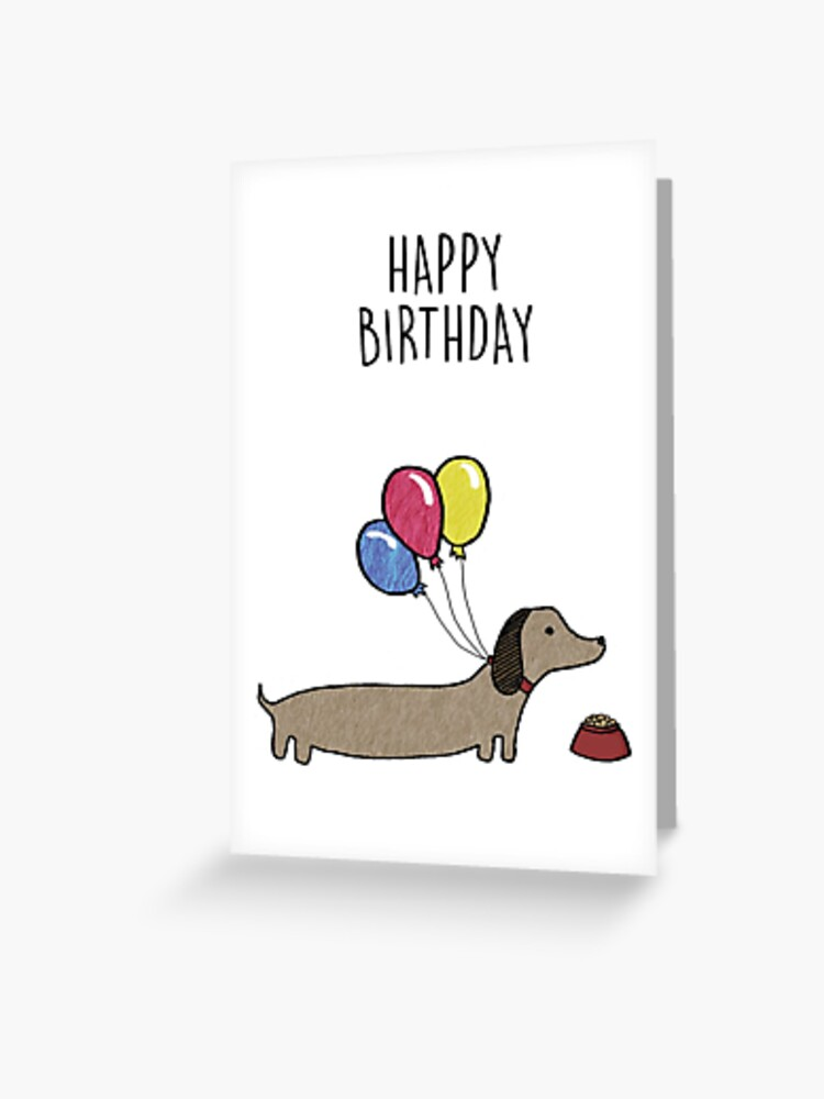 Sausage Dog Happy Birthday Card Greeting