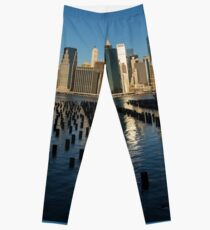 Luminous Blue, Silver and Gold - Manhattan Skyline and East River Leggings