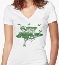 Green Bird Gum Tree Women's Fitted V-Neck T-Shirt
