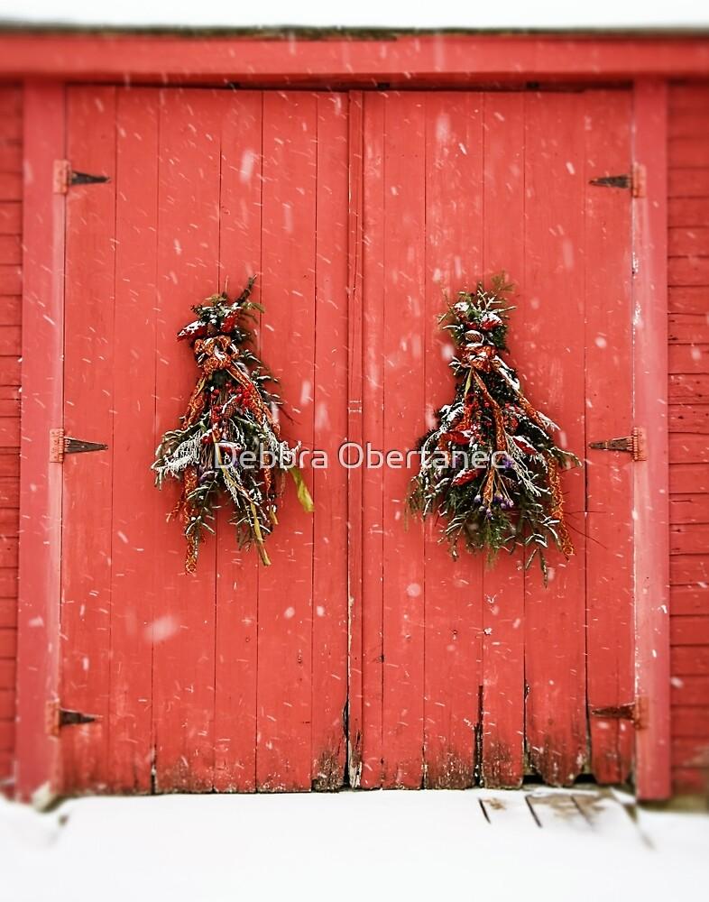 Red Holiday Door by Debbra Obertanec