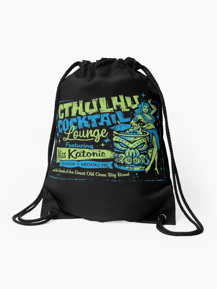 Drawstring Backpack Tiki Hut Shoulder Bags