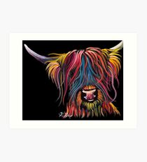 Scottish Hairy Highland Cow PRiNT ' SWEET PEA ' by Shirley MacArthur Art Print