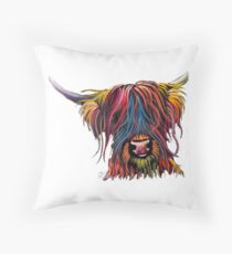 Scottish Hairy Highland Cow ' SWEET PEA ' by Shirley MacArthur Throw Pillow