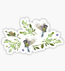Geometric Nature with Birds Pattern (blue tit and goldcrest) Sticker