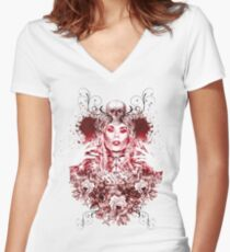 RuPaul Katya Zamolodchikova Gothic Russian Print Women's Fitted V-Neck T-Shirt