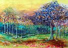 Waterpaint trees by Elizabeth Kendall