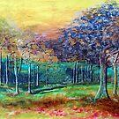Waterpaint trees by Elizabeth Kendall