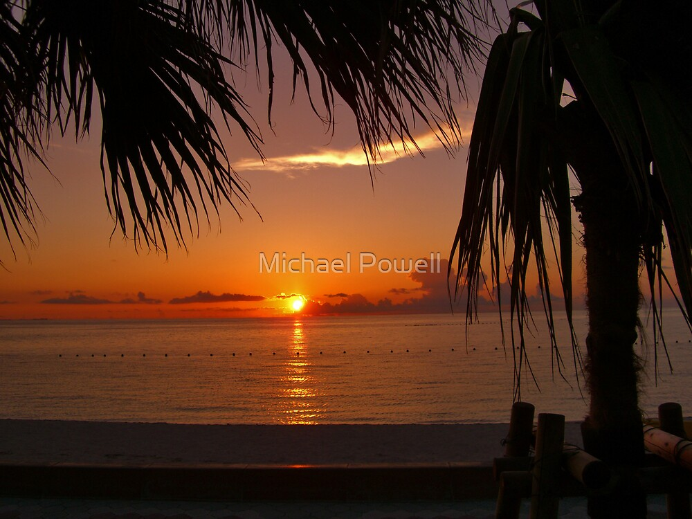Sunset over Araha Beach -- Okinawa, Japan by Michael Powell