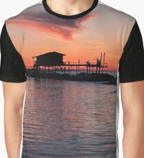 Stilt house in silhouette over the sea Graphic T-Shirt