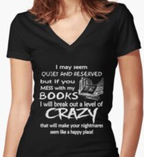 BOOKS CRAZY Women's Fitted V-Neck T-Shirt