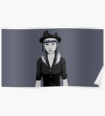 Girl with hat - Black and White Poster
