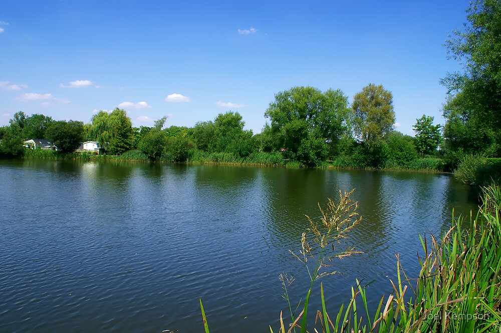 Looking Out Over Reed Lined The Lake With Blue Skies by Joel Kempson