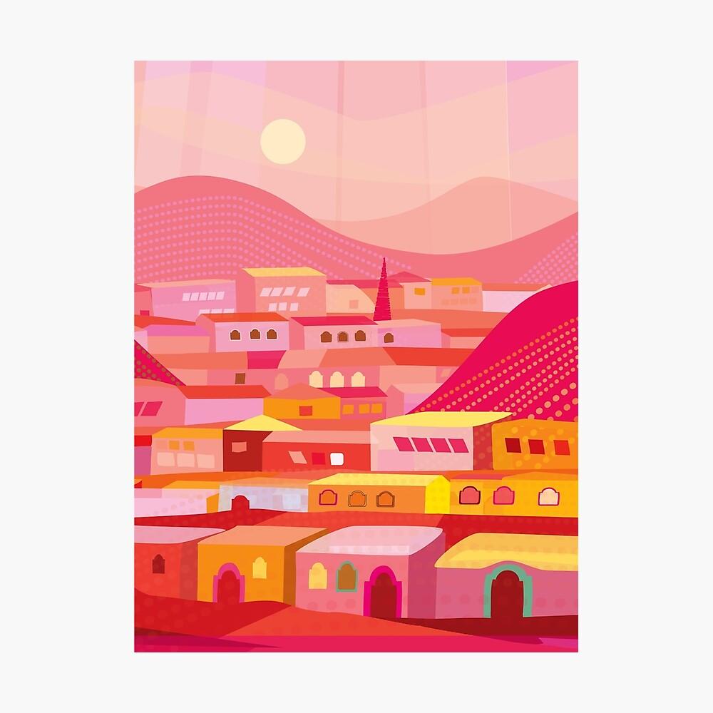 Pueblo in der Dämmerung Fotodruck
