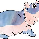 Watercolor Fiona the Hippo by Audrey Torrence