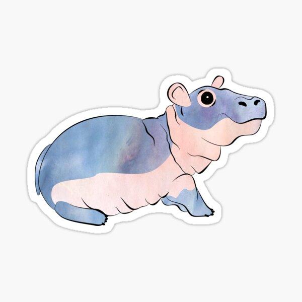 Watercolor Fiona the Hippo Sticker
