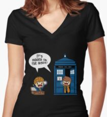 Dr Who - Tardis Doctors chibi Women's Fitted V-Neck T-Shirt
